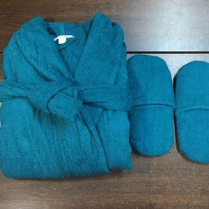 Woman Within Intimates & Sleepwear - nwt Terry spa ROBE & Slipper set 3X 30/32 Lagoon